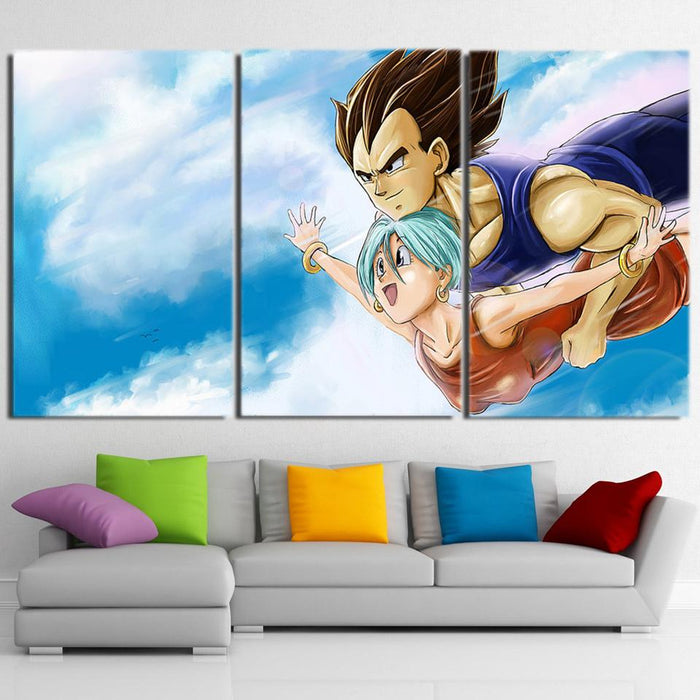 Bulma Vegeta Couple Flying Sky Blue Cool Decor 3pc Canvas Print