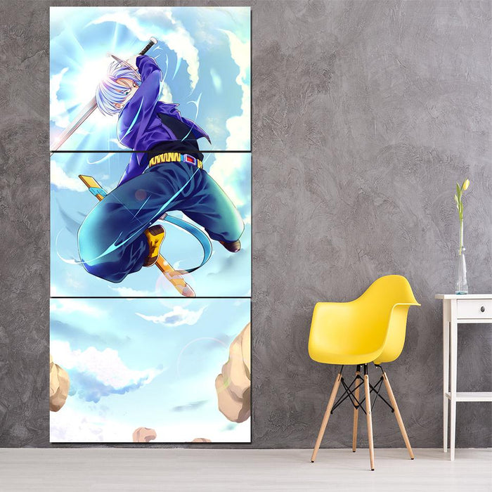 DBZ Future Trunks Awesome Sword Skill Cool 3Pc Canvas Print
