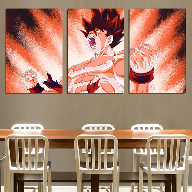 DBZ Gohan Cool SSJ2 Transformation 3pcs Wall Art Canvas Print