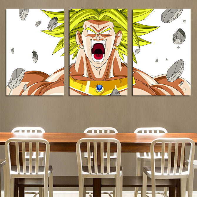 DBS Legendary Super Saiyan Broly 3pcs Wall Art Canvas Print