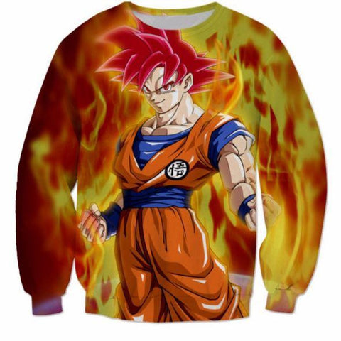 3D Printed Dragon Ball Goku Fire Flame Sweatshirt - Saiyan Stuff - 1