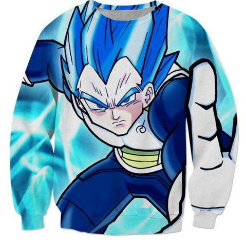 3D Printed Vegeta From Prince to God Cool Blue Sweatshirt - Saiyan Stuff - 1
