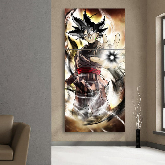 Black Goku Zamasu Villain Hole Fusion Cool 3Pc Canvas Print