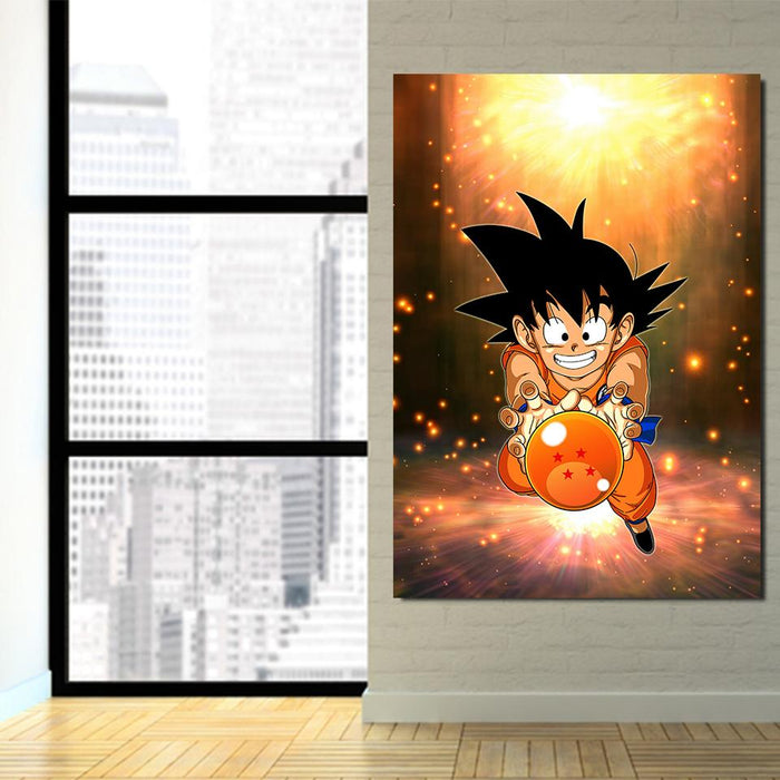 Cute Goku Kid Catch Fourth Dragon Ball 1Pc Canvas Print