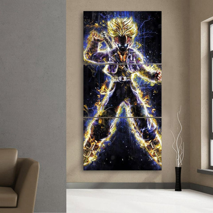 DBZ Future Trunks Angry Galaxy Background 3Pc Canvas Print