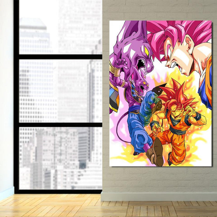 DBZ Goku Super Saiyan Rose VS God Beerus 1Pc Canvas Print