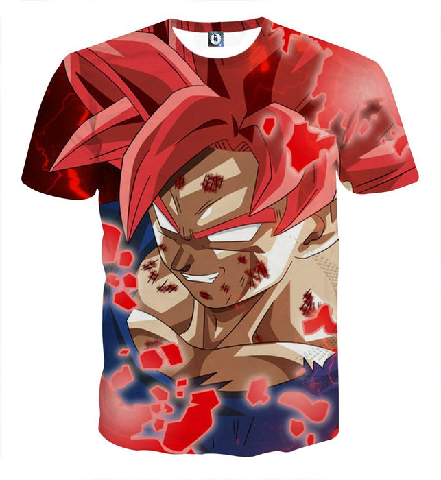 DBZ Son Goku Super Saiyan Red Hair God Dope Style T-shirt