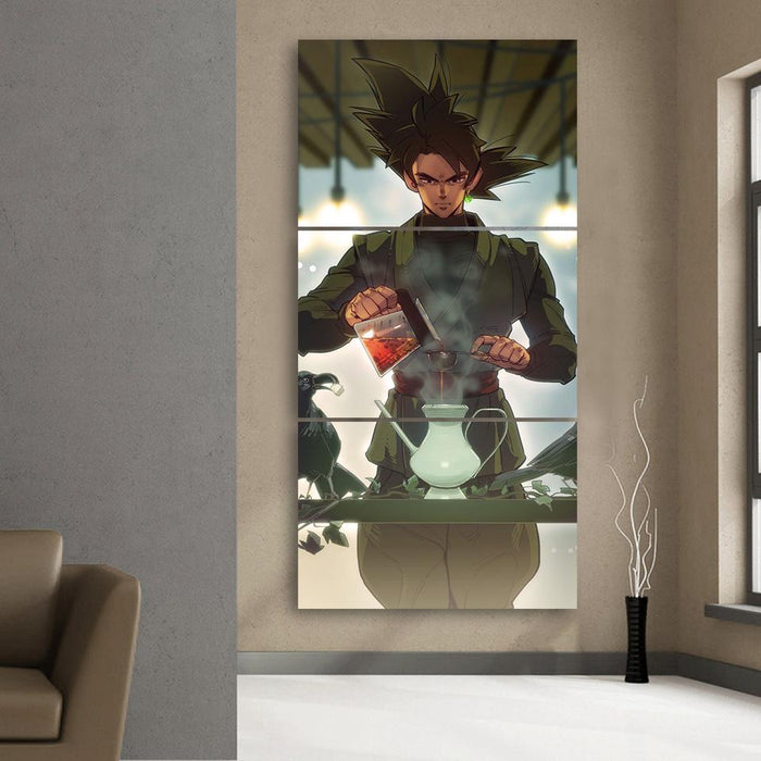 Goku Black Strong Villain Tea Time Fan Art 3Pc Canvas Print