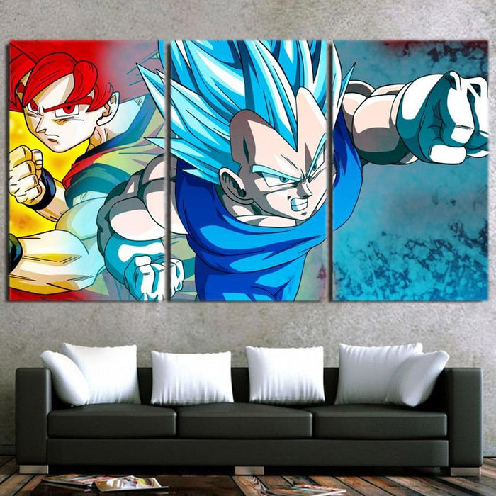 Goku Super Saiyan Rose Vegeta God Blue Cool 3pc Wall Art Print