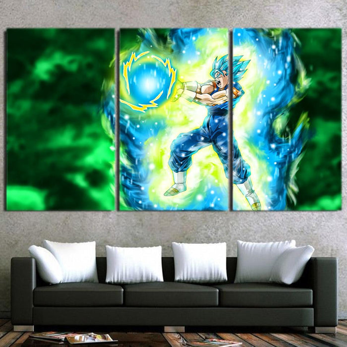 Vegito Super Saiyan Kamehameha Power Attack 3pc Wall Art Canvas