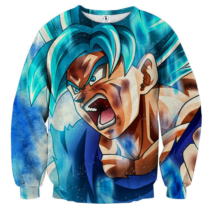 Dragon Ball Goku God Blue Angry Portrait Fan Art Sweatshirt