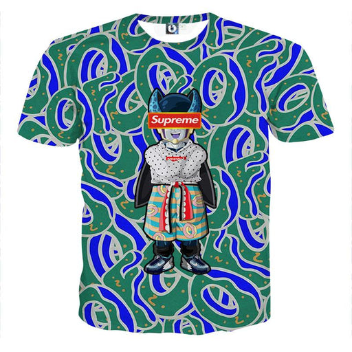 Supreme Villain Perfect Cell Green Blue Cool T-shirt