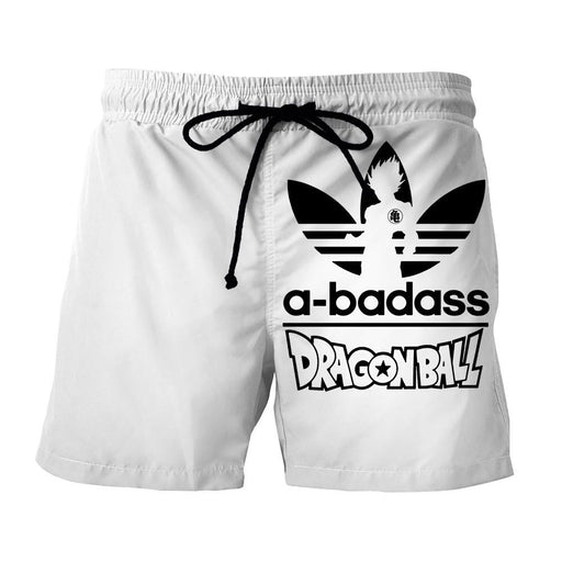 A-Badass Adidas Parody Dragon Ball Goku White Stylish Shorts