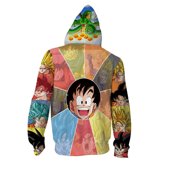All Forms of Goku Multicolor Full Print 3D Hoodie