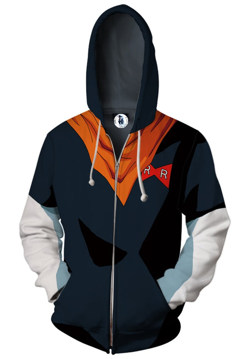 Android 17 Black Red Scarf Zip Up Cosplay 3D Hoodie
