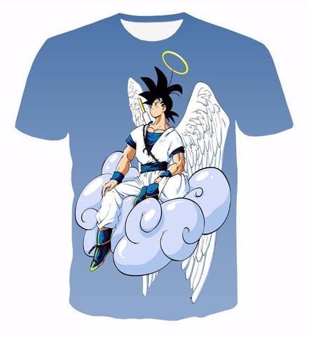 Angel Goku Sitting on the Cloud Blue 3D T-Shirt - Saiyan Stuff