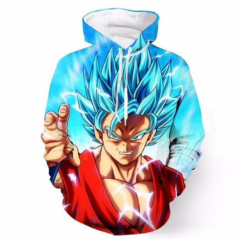 Angry Goku Super Saiyan God Blue Power Thunder Attack SSGSS Pocket Hoodie - Saiyan Stuff