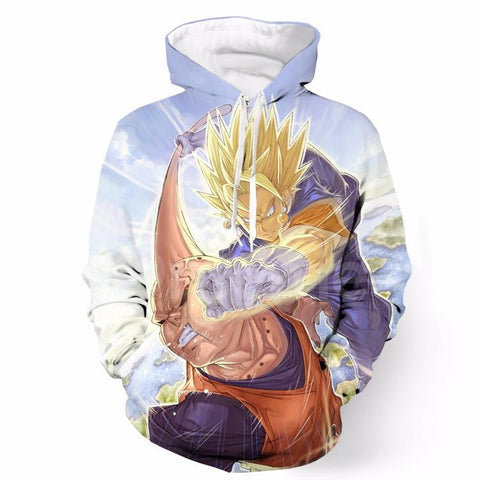 Angry Goku Super Saiyan Attack Punch Buu Sky Cool Pocket Hoodie - Saiyan Stuff