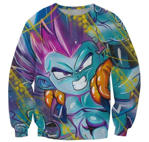 Angry Gotenks Fusion Dance Graffity Art 3D Crewneck Sweatshirt - Saiyan Stuff