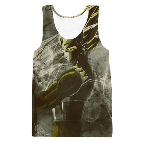 Angry Super Saiyan Vegeta Vintage 3D Stylish Tank Top - Saiyan Stuff