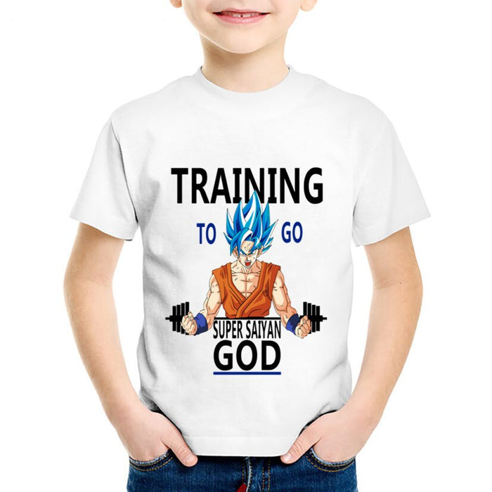 Dragon Ball Z Training To Go Super Saiyan God Kids T-Shirt