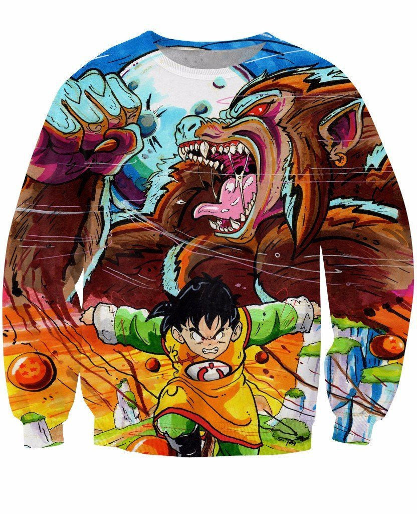 Art Style Gohan Great Ape Colorful DBZ Graffiti Painting Sweatshirt - Saiyan Stuff