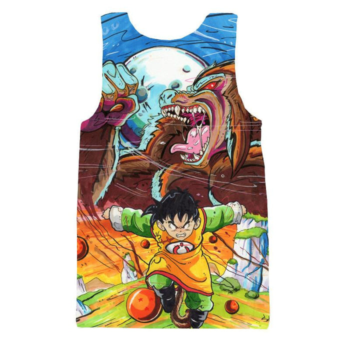 Art Style Gohan Great Ape Colorful DBZ Graffiti Painting Tank Top - Saiyan Stuff - 2