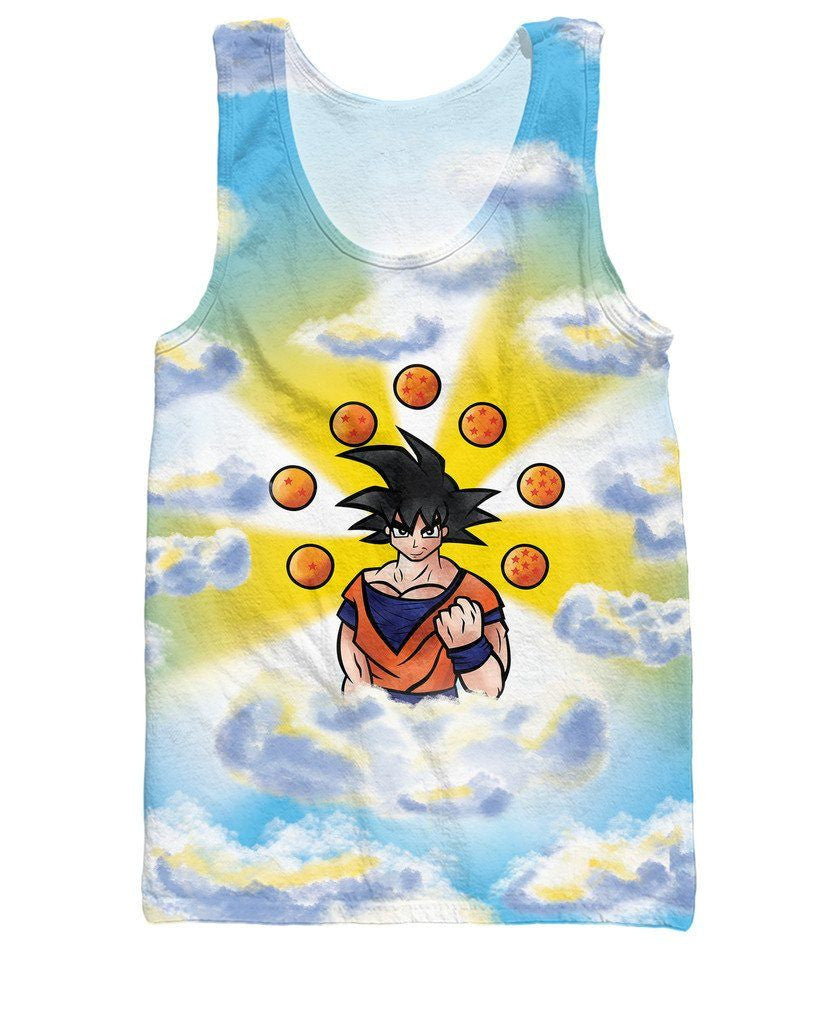 Awakened Sky Goku 7 Stars Dragon Balls 3D Tank Top - Saiyan Stuff