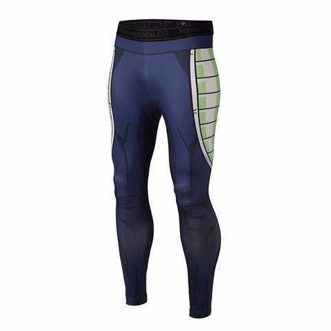 Bardock Armor Green Black Waist Fitness Gym Compression Leggings Pants - Saiyan Stuff - 1