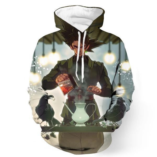 Black Goku Super Strong Future Villain DBS Tea Time Dope 3D Hoodie