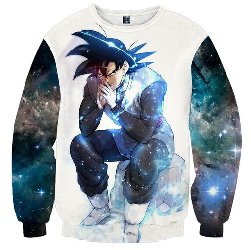 62de9a4f8a5f Blue Aura Evil Bad Sitting Goku Black Villain Dragon Ball Super Sweatshirt