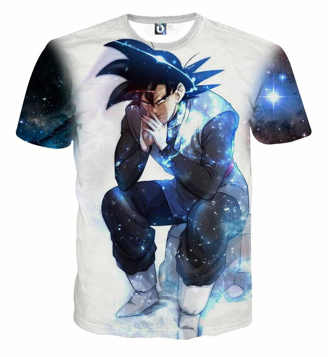 Blue Aura Evil Bad Sitting Goku Black Villain Dragon Ball Super T-Shirt