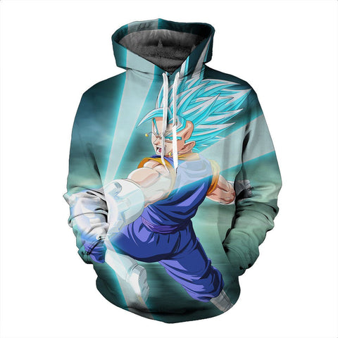 Blue Super Saiyan Vegeto DBS Anime Goku Vegeta Fashionable Hoodie