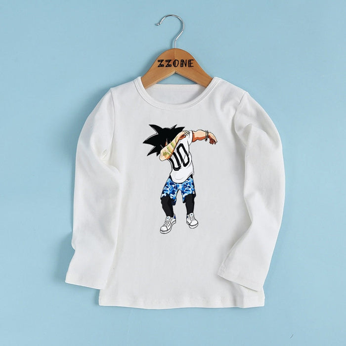 DBZ Son Goku Dancing Switch It Up Long Sleeve Kids T-Shirt