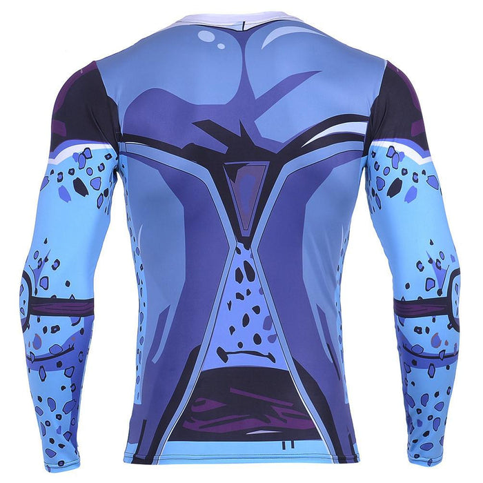 Cell Jr. Blue Skin DBZ Monster 3D Long Sleeves Compression T-Shirt