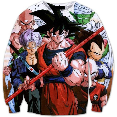 Cell Saga Goku Z-Fighters Characters 3D Crewneck Sweatshirt - Saiyan Stuff