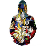 Classic Dragon Ball Z Gohan Stylish Cool 3D Zip Up Hoodie - Saiyan Stuff