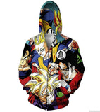 Classic Dragon Ball Z Gohan Stylish Cool 3D Zip Up Hoodie - Saiyan Stuff - 2