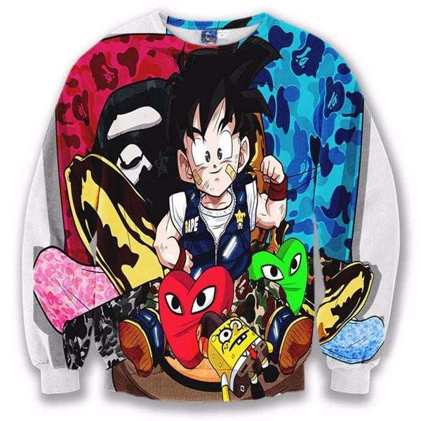 Cute Kid Goku SpongeBob Hearts Camouflage Cool Sweatshirt - Saiyan Stuff