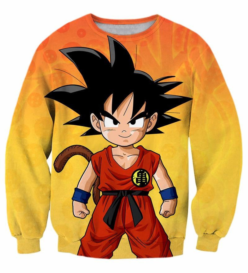 Cute Young Kid Goku Yellow Dragon Ball 3D Sweatshirt - Saiyan Stuff