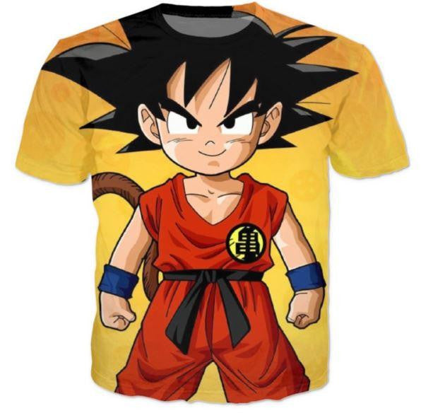 Cute Young Kid Goku Yellow Dragon Ball 3D T-Shirt - Saiyan Stuff