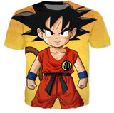 Cute Young Kid Goku Yellow Dragon Ball 3D T-Shirt - Saiyan Stuff - 1