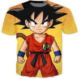 Cute Young Kid Goku Yellow Dragon Ball 3D T-Shirt - Saiyan Stuff - 2
