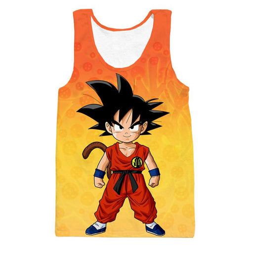 Cute Young Kid Goku Yellow Orange Dragon Ball 3D Tank Top - Saiyan Stuff