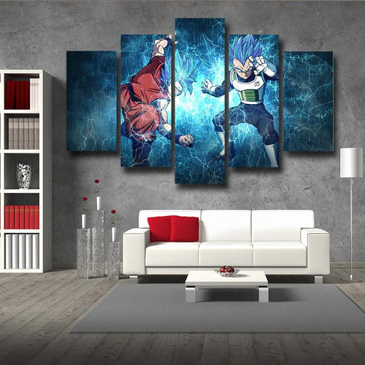 DBS Goku Vegeta Super Saiyan Thunder Power 5pc Canvas Prints Wall Art