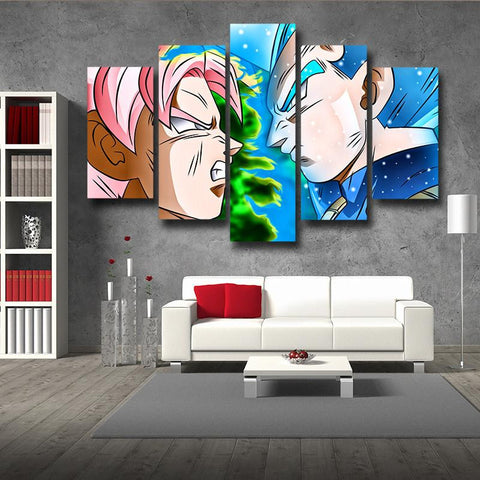 DBS Vegeta SSGSS Fight Goku Black Super Saiyan Rose 5pc Canvas Prints