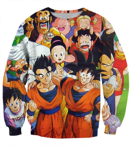 DBZ All Dragon Ball Character Together Happy Friends Manga Design Sweatshirt