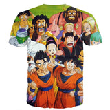 DBZ All Dragon Ball Characters Happy and Friendly Together Manga Design T-Shirt