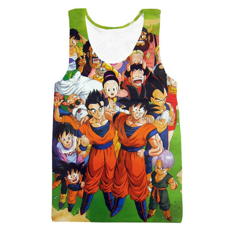 DBZ All Dragon Ball Character Together Happy Friends Manga Design Tank Top