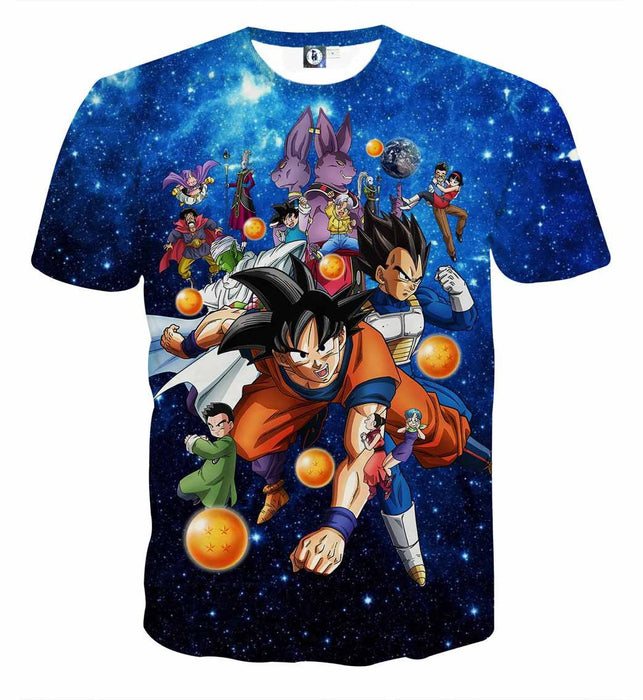 DBZ Battle Gods Goku Beerus Galaxy Background Theme T-Shirt